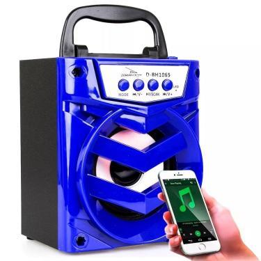 Caixa Som Bluetooth Portátil Usb SD FM Potente Azul 1065