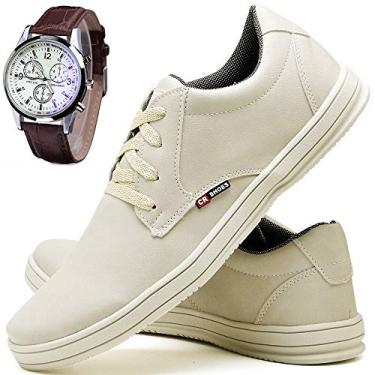 Kit Sapatênis Sapato Casual Com Relógio Com Cadarço Masculino CR Shoes 1510DB Tamanho:43;cor:Bege;gênero:Masculino
