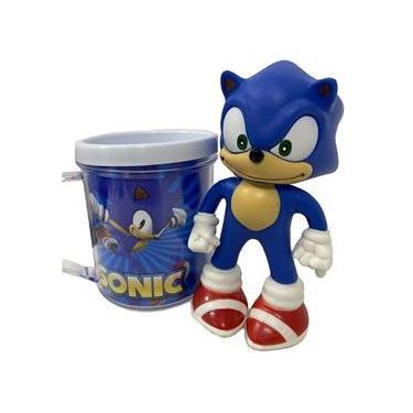 Boneco Sonic Azul Clássico Figure + Caneca