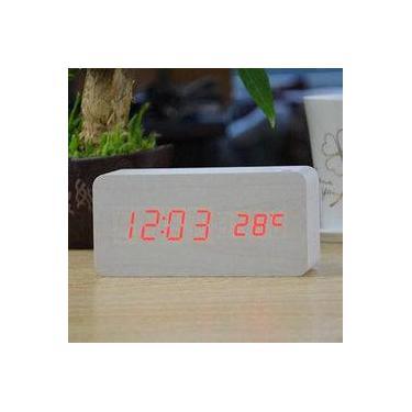 cb847d3d81a Relógio Despertador Mesa Digital Tipo Madeira Com Sound Control 1299-branco