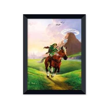Poster de The Legend Of Zelda - Ocarina Of Time Com Moldura - Preto
