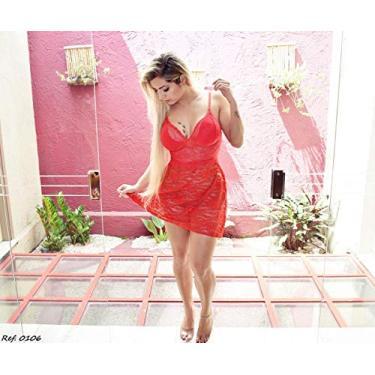 Camisola Sensual Renda Alça Ajustável Lingerie Moda Feminina Vermelho Tamanho M