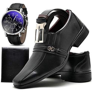 Imagem de Kit Sapato Social Com Relógio Cinto Carteira Masculino Top Flex 806DB Tamanho:45;cor:Preto;gênero:Masculino