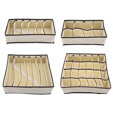 Organizador de gaveta dobrável Durável Divisor Caixa de Armazenamento Caixa Recipiente para Sutiã Roupa Interior Meia(Complete Set)