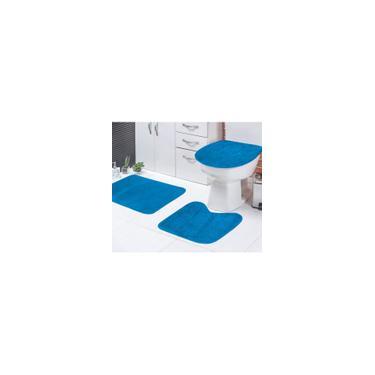 Imagem de Jogo de Tapetes Banheiro Azul Turquesa Liso Padrão 3 Peças