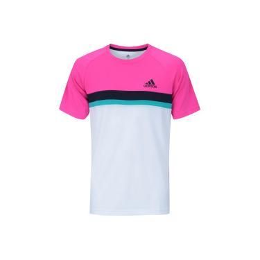 Camiseta com Proteção Solar UV adidas Club Color Block Tee - Masculina -  BRANCO ROSA db9c7b7bc29bd