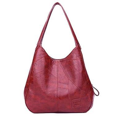 Imagem de Bolsa de Mão Feminina Vintage Bolsa de Ombro (Vermelho Vinho)