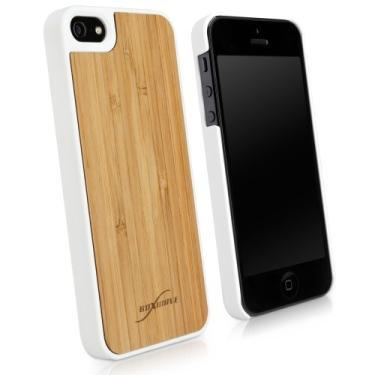 Capa para iPhone SE, BoxWave [True Bamboo Minimus Case com carregador de chaveiro] Feito à mão, capa de madeira verdadeira para Apple iPhone SE, 5s, 5 - Branco de inverno