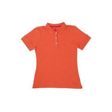 67e2fb8aeb Camiseta Polo Feminina Laranja Wrangler 22055