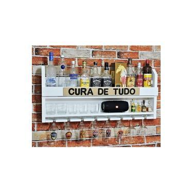 Imagem de Bar Barzinho Suspenso De Parede Adega Vinhos Bebidas Madeira MDF Cura de Tudo 100x45cm Branco Fosco
