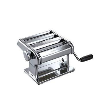 Máquina de massa Marcato, feita na Itália, aço cromado, prata, inclui cortador de massa, manivela de mão, instruções, Máquina de fazer massa, Ampia 150 , Silver, Includes Pasta Cutter, Hand Crank, & Instructions, 150MM, 1