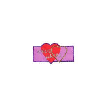 Patch Bordado Termocolante Natalino Corações Rosa