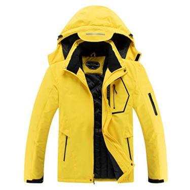 Jaqueta masculina impermeável para esqui com capuz para neve e inverno, Amarelo, XX-Large