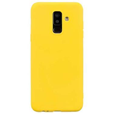 Shunda Capa para Galaxy A6 Plus, capa ultrafina macia de silicone TPU fosco à prova de choque, capa protetora para celular para Samsung Galaxy A6 Plus - amarela
