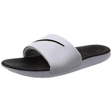 Imagem de NIKE Kids' Kawa Slide Sandal, White/Black, 4 M US Big Kid