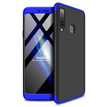 "Capa Capinha Anti Impacto 360 Para Samsung Galaxy A9 2018 Tela De 6.3"" Polegadas Case Acrílica Fosca Acabamento Macio - Danet (Preto com azul)"