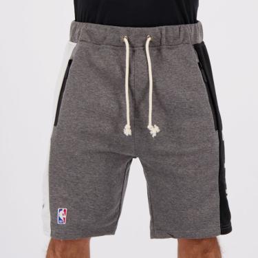 Bermuda Moletom NBA Brooklyn Nets Cinza Mescla - P