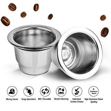 Imagem de Sunbaca Cápsulas de café reutilizáveis de aço inoxidável Filtro de copo de cápsula de café reutilizável recarregável + tampa descartável de folha de alumínio compatível com Nespresso