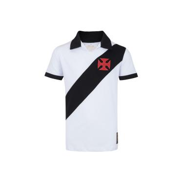 Camisa Polo do Vasco da Gama Paris - Infantil - BRANCO PRETO Braziline 0ed61b9afb4bf