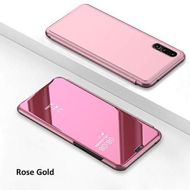 Capa para smartphone para Huawei P20 Pro [Stylus de uso duplo grátis][Tecnologia de revestimento de metal] Capa espelhada de perspectiva semi-transparente luxuosa com função hibernar/despertar e suporte automática, ouro rosa
