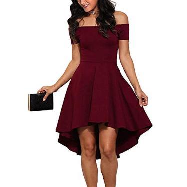 CUQY Vestido feminino de bainha alta e baixa com ombros de fora, coquetel, vestido formal para festa de casamento e adolescentes (FBA), Wine2, Small
