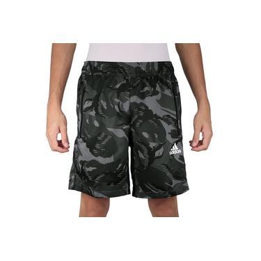 Shorts Adidas Aeroready Camouflage Graphic Tee Preto Verde e Cinza