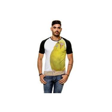 Camiseta Raglan Periquito Amarelo Masculina b54b69c134d27