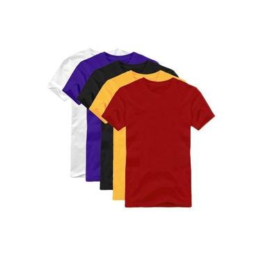 Camisetas Camisa Lisa Unissex Manga Curta Kit Com 5 Und Algodão Grade Preto Azul Amarelo Branco Vermelho