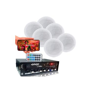 Kit Som Ambiente 4 Canal 500 Watts + 6 Caixas Coaxial Gesso