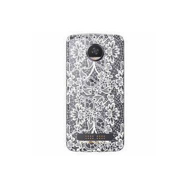Capa Transparente Exclusiva Para Motorola Moto Z2 Play Renda Branca - Tp283