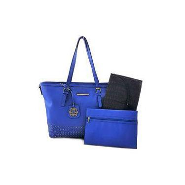 Bolsa Feminina Ana Hickmann Grande de Mão com Tachas e com Duas Necessaires Azul 15061