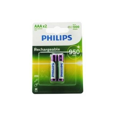 Pilha Recarregável AAA Philips 950 mAh 1.2V HR03 Com 2 Unidades