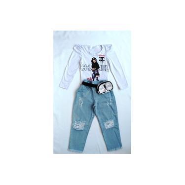 Conjunto Infantil Mini Blogueirinha Blusa e Calça Jeans com Pochete para Menina