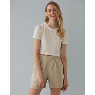 shorts linho com elástico Feminino AMARO AREIA 48