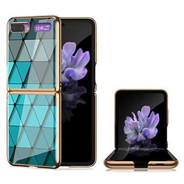 EUDTH Capa flip para Galaxy Z, capa rígida ultrafina híbrida de policarbonato 9H vidro temperado à prova de choque capa protetora para Samsung Galaxy Z Flip de 6,5 polegadas - azul diamante