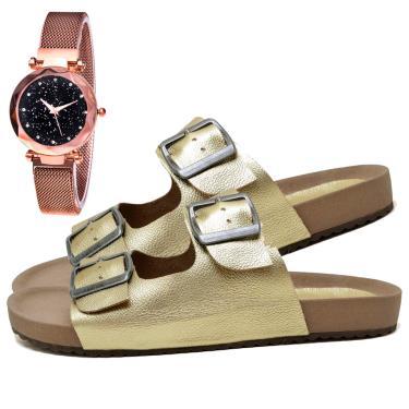 Imagem de Sandália Birken Papete Fashion Com Relógio Gold Feminina DUBUY 2035EL Dourado  feminino