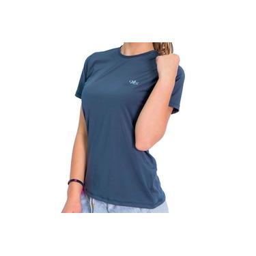 Camisa Proteção Solar UV DRY Manga Curta Feminina Chumbo