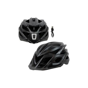 Imagem de Capacete Ciclismo Wild Flash Fosco Com Led Recarregável In-mold Tamanho Grande 58/61 cm Preto Absolute