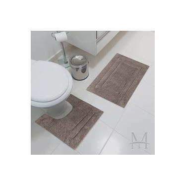 Imagem de Jogo Tapete de Banheiro Jolitex Algodão Agra 02 Peças Marrom