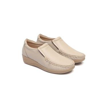 Sapato Feminino confort couro sola Anabela 80 mager marfim