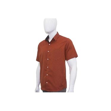 Camisa Social Masculina Manga Curta Laranja Quadriculada Xadrez Bom Pano