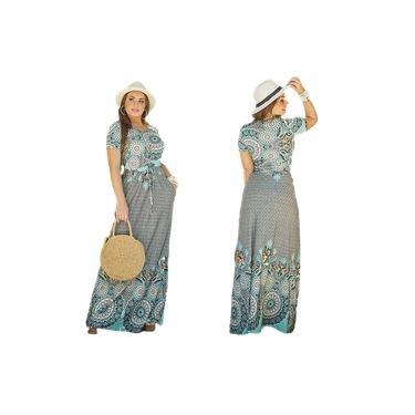 Vestido longo feminino manga curta evangelico com ajuste na cintura