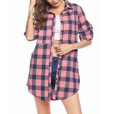 Hotouch – Camisa feminina xadrez de flanela com bolsos de manga comprida e comprimento médio, rosa, XXL