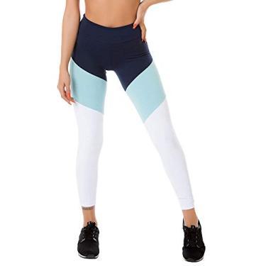 Calça Legging Com Recortes Marinho Azul Claro e Branco Poliamida
