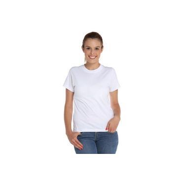 Camiseta Manga Curta Baby Look Branca Malha Fria Pv Feminina