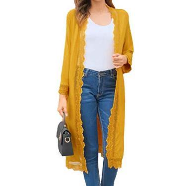 Cardigã feminino casual de manga 3/4, leve, de renda, aberto na frente, suéter de moletom P-3GG, Mustard Yellow, 3X-Large