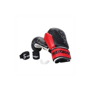 Kit Boxe Muay Thai Pretorian First Luva 14 OZ Preta e Vermelha + Bandagem + Protetor Bucal