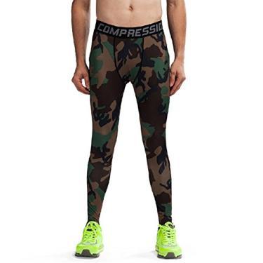 Imagem de Calça legging de compressão com camada de base branca para corrida masculina verde G (mesmo que EUA M)