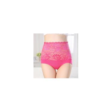Modal Plus Size Calcinha Cintura Alta Forma Abdômen Quadris Lingerie Sexy Lace Splice Calcinha Mul