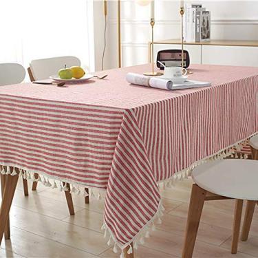 Imagem de Hengqiyuan Linenablecloth toalhas de mesa, toalha de mesa de algodão com borla, capa de mesa retangular de algodão, mesa de mesa, mesa, mesa, mesa, quadrada, mesa redonda, vermelha, 140 x 250 cm